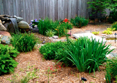 Water feature with variety of perennials.
