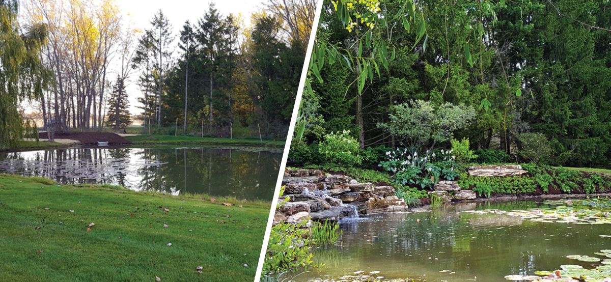 Before and After - Stone Waterfall with Landscaped Bank