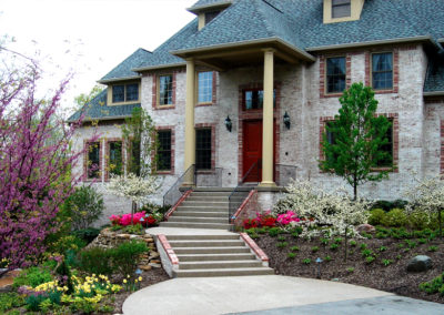 Landscaped front entry to home.