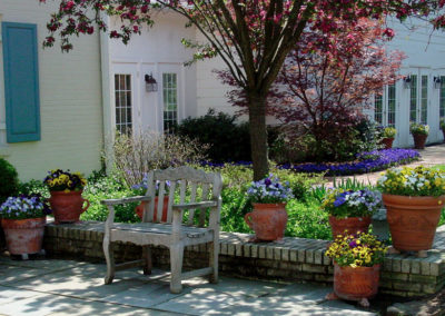 Spring containers on back porch.