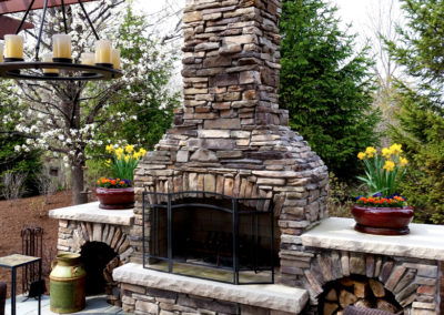 Spring containers with fireplace.